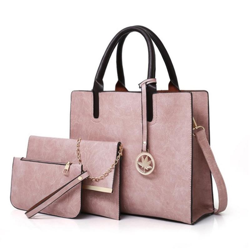 여성용 가방 세트 패션 PU 가죽 숙녀 핸드백 솔리드 컬러 메신저 어깨 지갑 가방 여성 2021 저녁