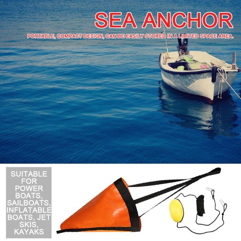 Rafts / Barcos inflables 24/32/42/53 pulgadas Drift Sock Anchor Drogue con sistema de frenos de bolas de flotador de boya para vela marina / barco de alimentación Yate Jet