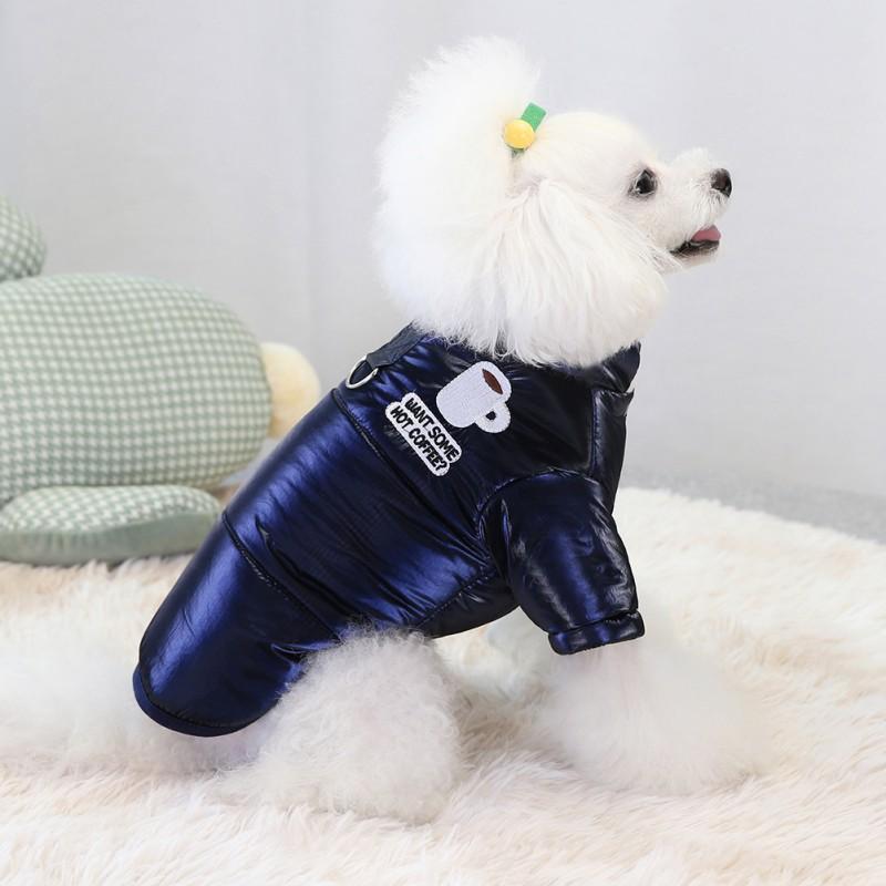 Hundebekleidung Haustier bestickte Baumwolle gepolsterte Kleidung Winter verdickte Weste Solid Color Design warm weich komfortabel