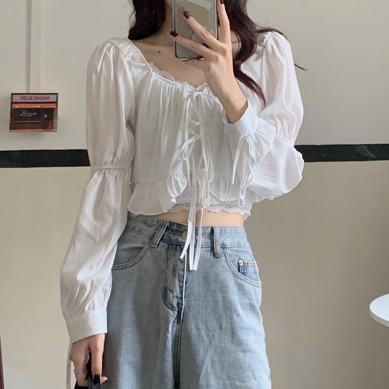 Shirts chiffon blusen frauen puff sleeve v-neck weibliche kleidung mode koreanische stil kordelzug frauen französische vintage bluse