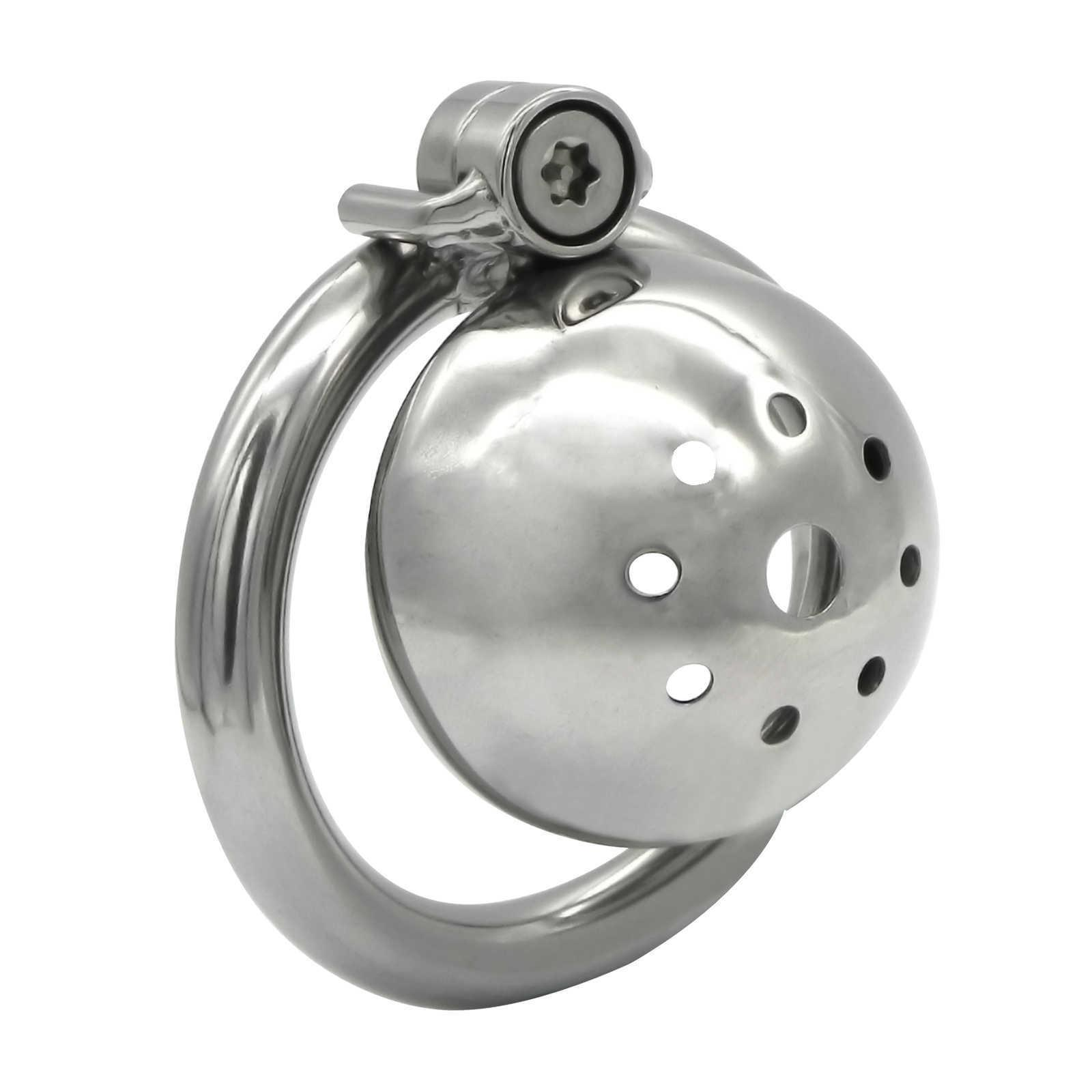 Screw Lock Ergonomic Design Stainless Steel Male Chastity Device Super Small Cock Cage Penis lock Cock Ring Chastity Belt S093 210629