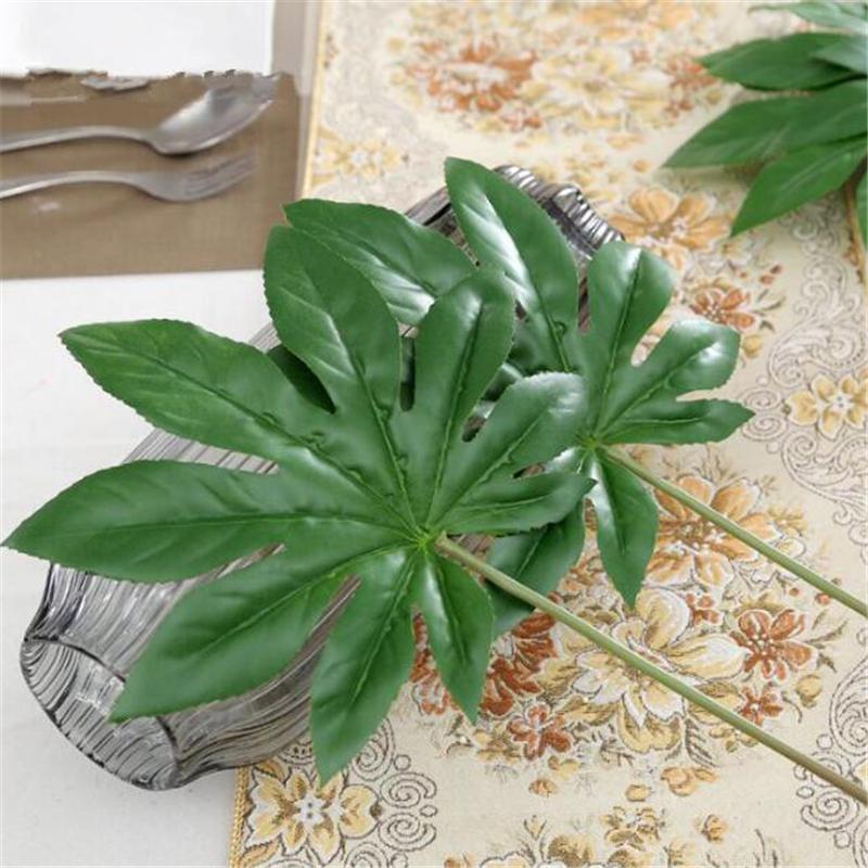 1Piece large Artificial fake Monstera palm tree Leaves green Plastic leaf wedding DIY decoration cheap Flowers arrangement plant dsf0954