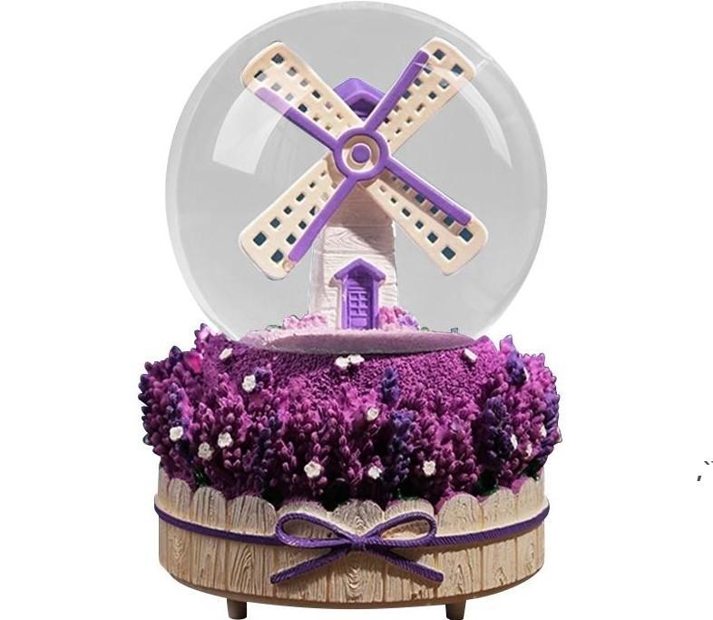 Favoris Favorise Music Box Windmill Lanternes à neige Crystal Ball Étudiant Couple Saint Valentin Evénement cadeau Ornements DWD6003