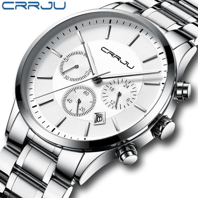 Armbanduhren 2021 Top Marke Crrju Modesport Männer Watch Luxus Edelstahl Handgelenk Chronograph Wasserdichte Relogio Masculino