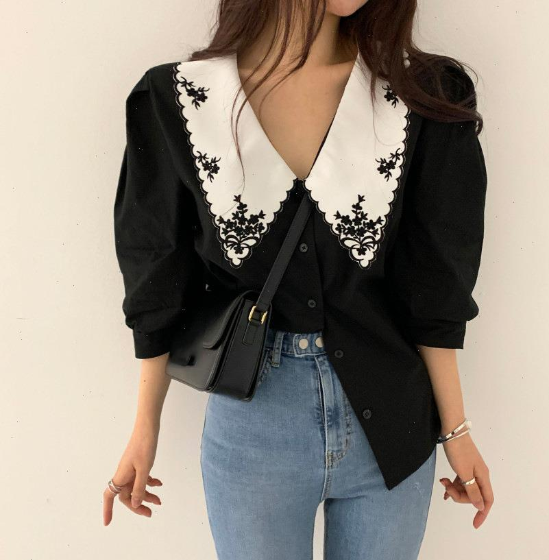 Korean Chic Retro Design Lapel Womens Blouses Plus Size Blusas Casual Heavy Embroidery Hit Color Single breasted Loose Puff Sleeve