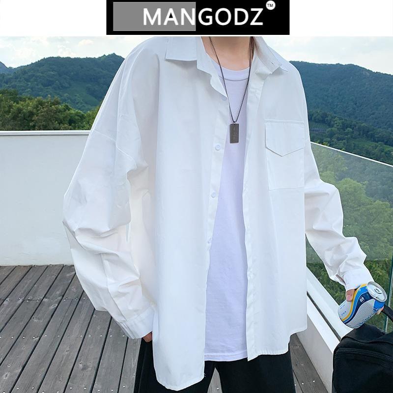 남성 대형 셔츠 솔리드 컬러 긴 소매 하라주쿠 셔츠 힙합 streetwear 캐주얼 블로스 커플 의류 Camisa Masculina 남자