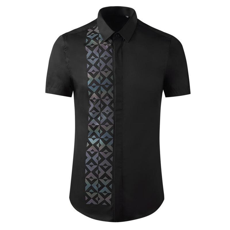 클래식 블랙 화이트 망 셔츠 럭셔리 짧은 소매 기하학적 캐주얼 드레스 고품질 슬림 맞는 남성 3XL 남자