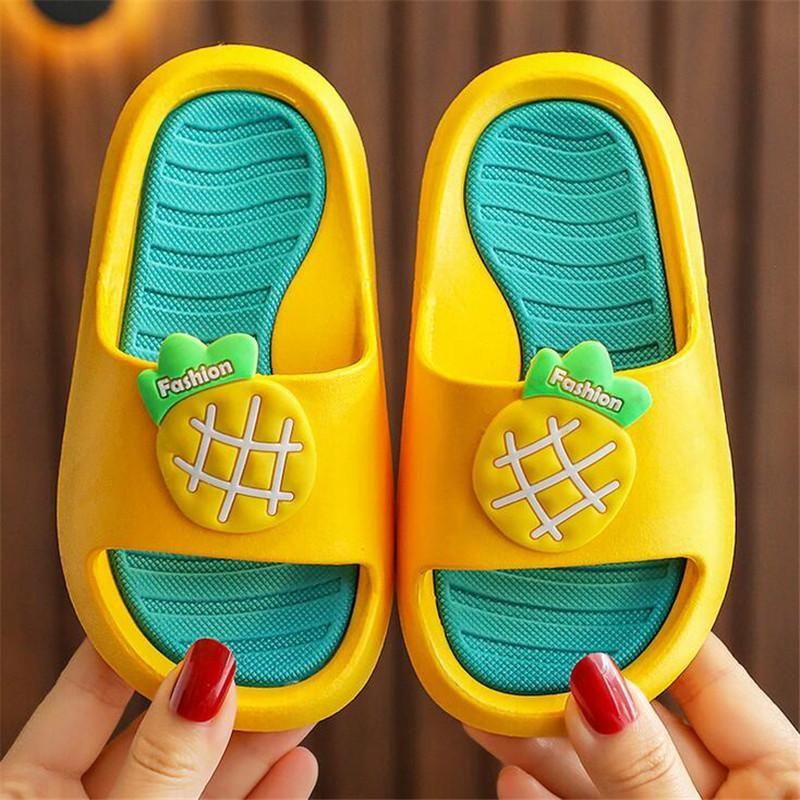 Girls Women Summer Slippers Kids Boys Cute Strawberry Pineapple Soft Bottom Home Shoes Parent-Child Outdoor Beach Sandals Slipper