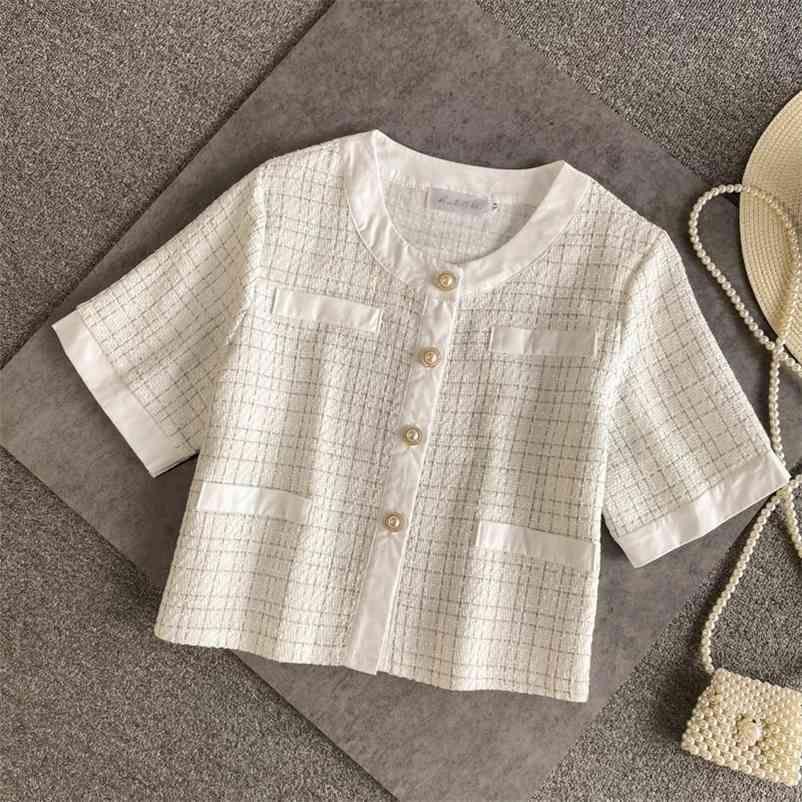 Été petit parfum Cardigan Cardigan Femmes Crop Top Mode Vintage British Outerwear Tweed Jacket Court Veste Veste Femme 210602