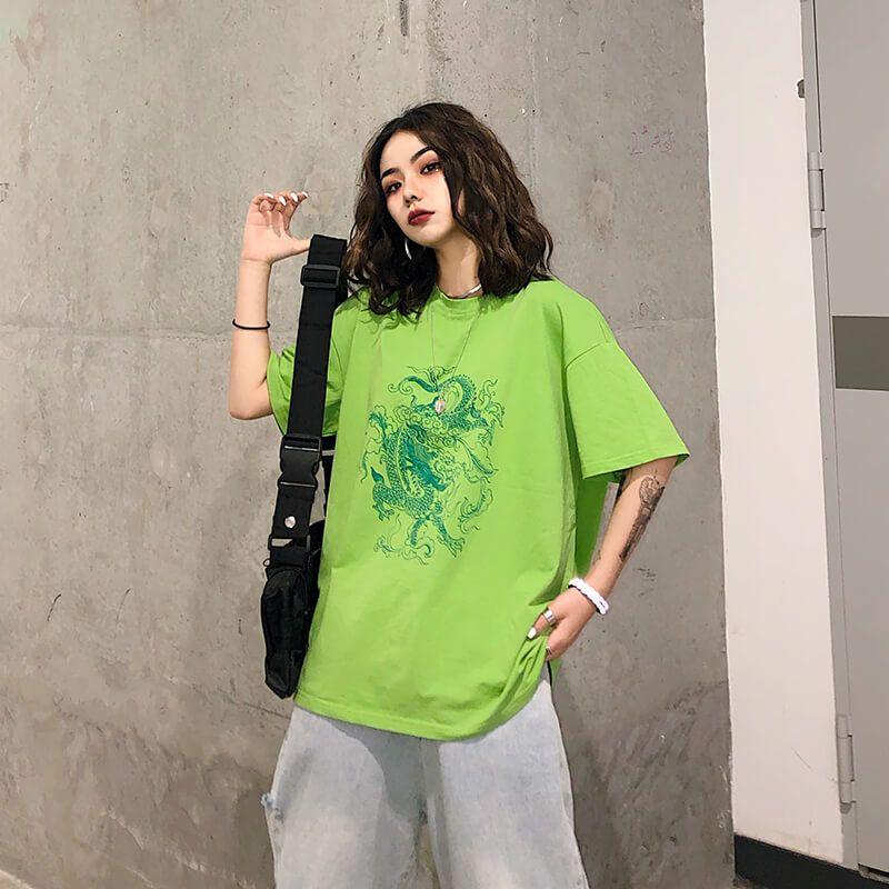 Harajuku Vintage Drachen Oansatz Frauen T-shirt Kurzarm Tops Kleidung Vegane Baumwolle Fremde Sachen Gothic Mesh Top DropshippingNvtx196