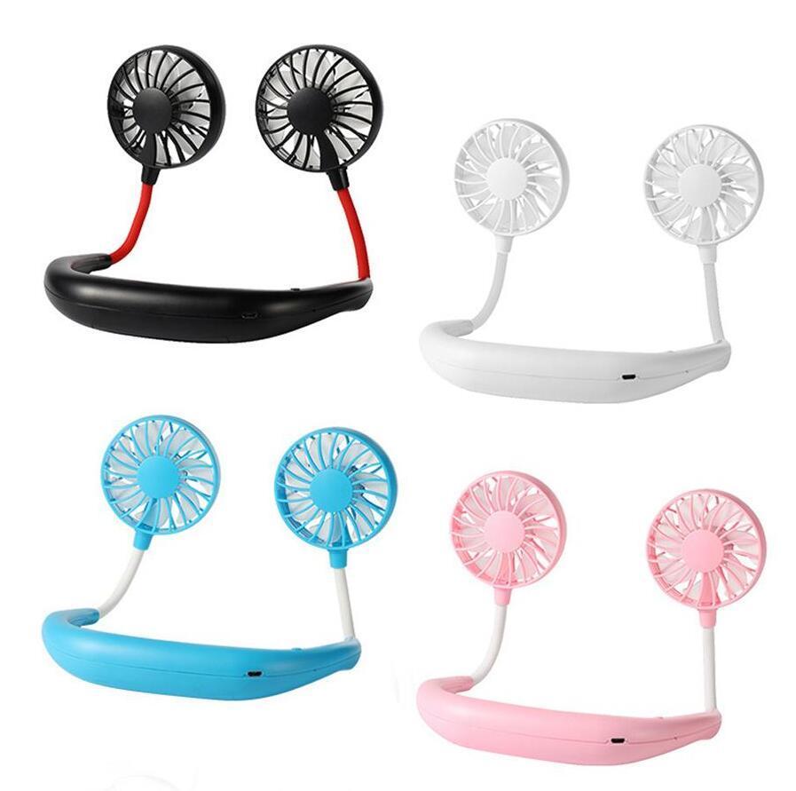 Ventilateur de plein air rechargeable à 360 degrés, ventilateur USB portable 360 degrés, rotation de la bande de cou de colomage de colorage de colorage de colorée avec lampe LED DHL