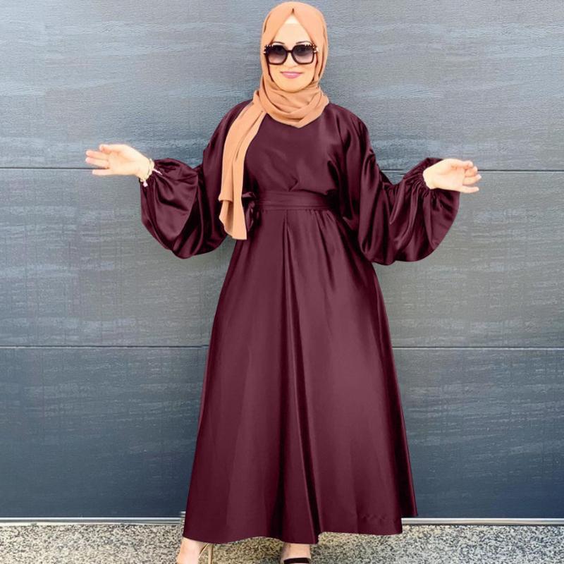Abbigliamento etnico 2021 Musulmani Donne Donne Manica Abito a caviglia Dubai Abaya Donne