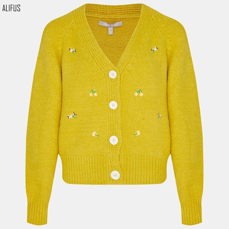 봄과 가을 거리 기질 캐시미어 카디건 V 넥 루스 스웨터 여성용 니트웨어 티셔츠