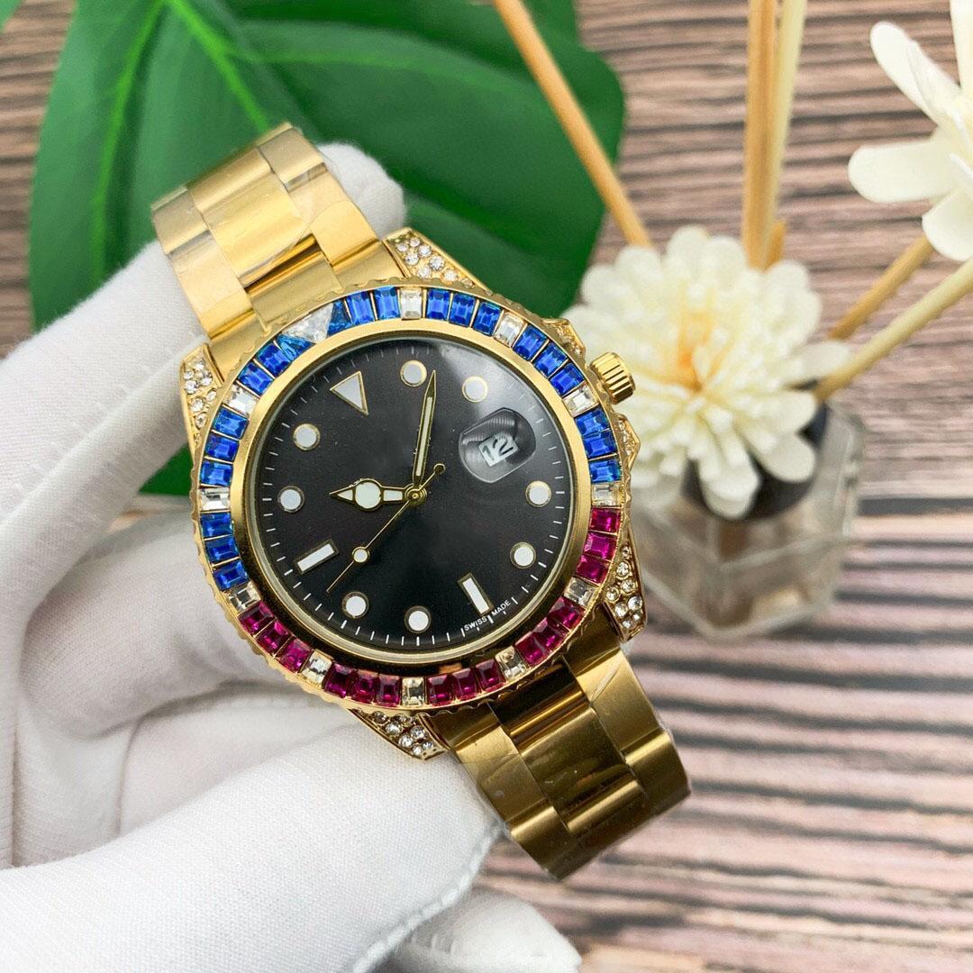 2021 luxus männer uhr edelstahl mode frauen farbe kristall diamant uhr fortschrittlich automata bewegung wasserdichte armbanduhren 42mm