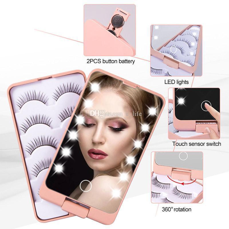 Леди складной светодиодный макияж зеркало с ложным лотком 5 пары / установить ложные ресницы упаковочные коробки сенсорный датчик 12 свет косметики зеркало для макияжа