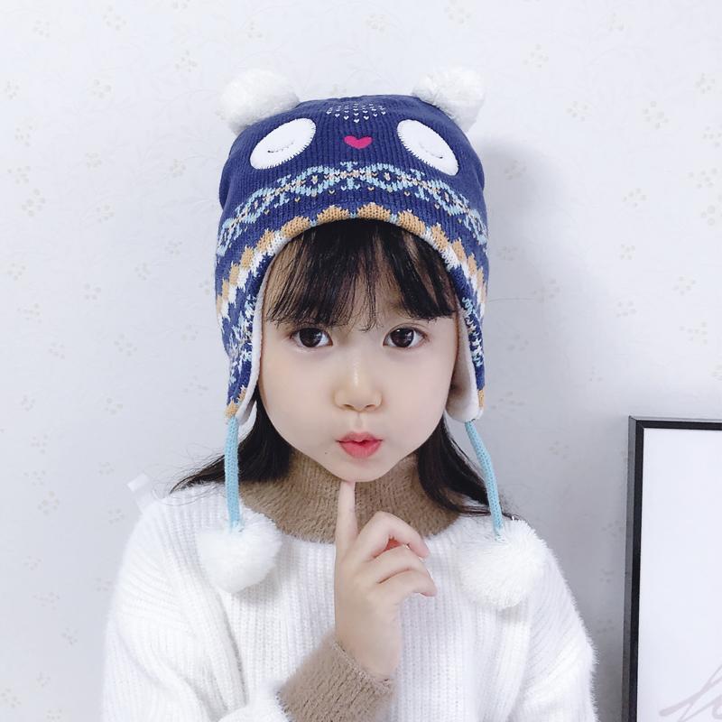 겨울 모자 소녀 이어폰 양털 니트 비니 가을 따뜻한 아이 만화 Pompom 코튼 스키 야외 액세서리 유아 아기 모자 모자