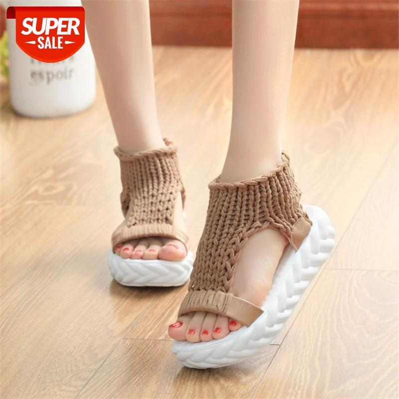 Knitted Elastic Mesh Platform sandals 2019 Summer shoes women Fashion Open toe flat Sweet Hollow Slip-On female #pu4L