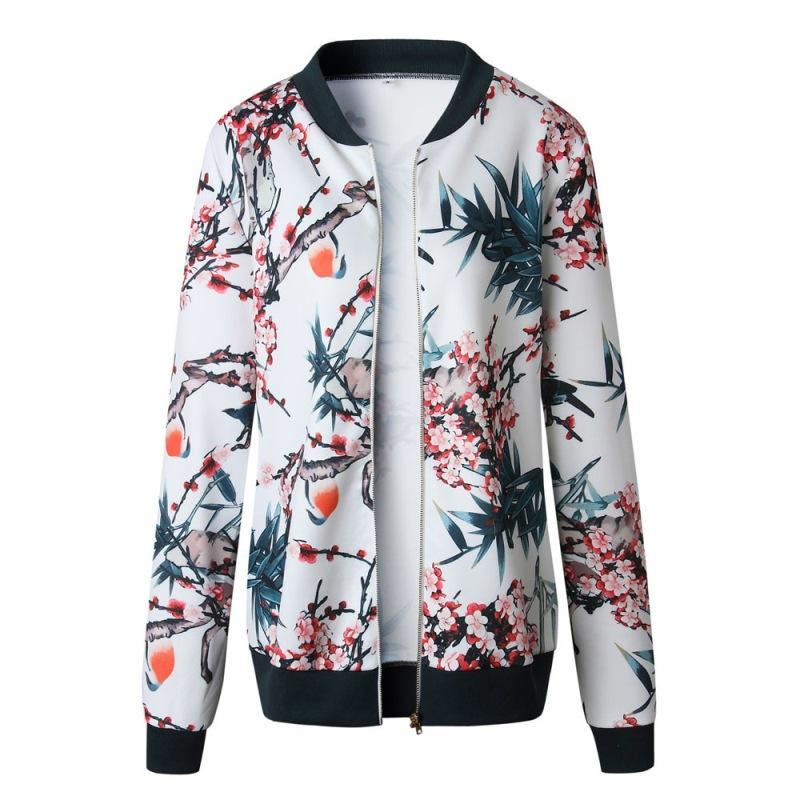 Floral Print Zipper Casual Jacket Women 2021 Spring Summer Long Sleeve Loose Bomber Coat O Neck Fashion Tops Outerwear Women's Jackets