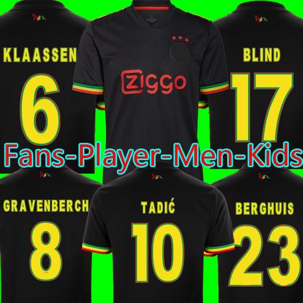21 22 AJAX Bob Marley Camisas de futebol TADIC BERGHUIS HALLER Terceiro kit preto BLIND CRUYFF GRAVENBERCH 2022 camisa de futebol masculino crianças conjuntos de uniformes