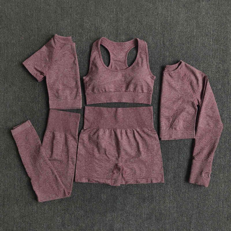 2/3 / 5 stücke Nahtlose Frauen Yoga Set Workout Sportswear Gym Kleidung Fitness Langarm Crop Top Hohe Taille Leggings Sportanzüge 210417