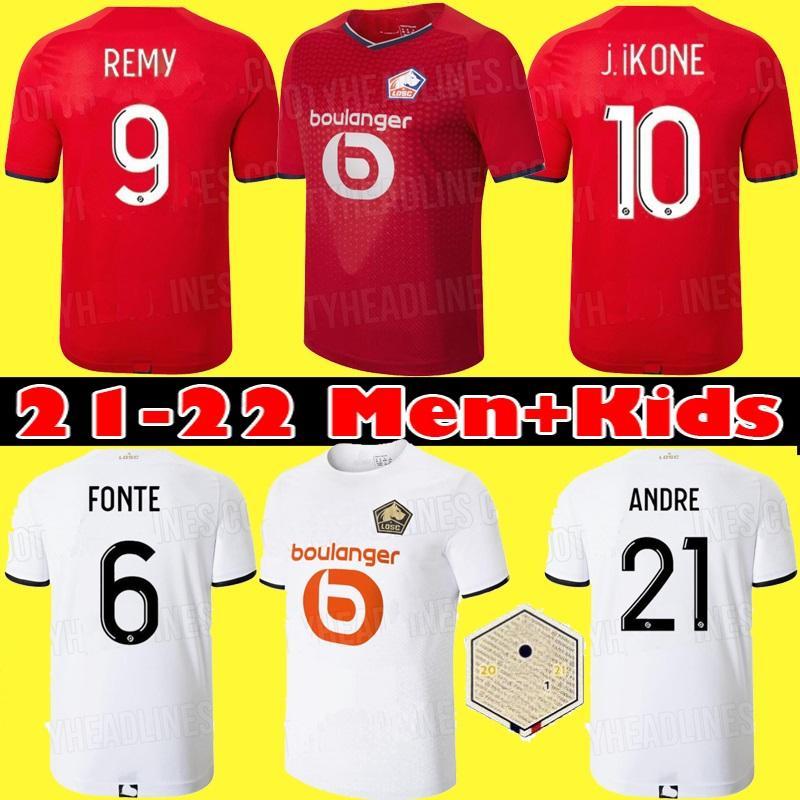 2021 2022 LOSC LLELE SOCCER Jerseys David Fonte Burak Yazici Camisetas de fútbol 22 Jikone T.Weah L.Aranto Maillots Kit para niños adultos