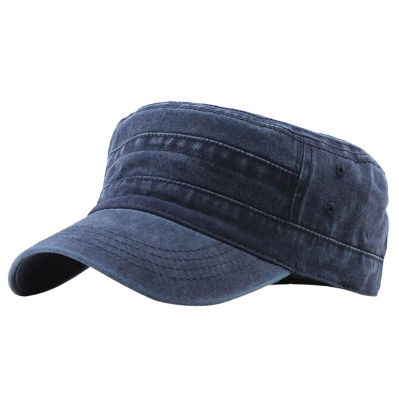 Berets Washed Vintage Fashion Outdoor Unisex Casual Cotton Soldier Denim Hat Visor Solid Flat Cap Autumn Winter Sboy Y