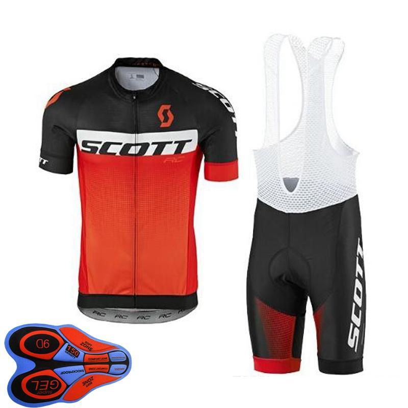 Erkek Bisiklet Jersey Set 2021 Yaz Scott Takımı Kısa Kollu Bisiklet Gömlek Önlüğü Şort Takım Elbise Hızlı Kuru Nefes Yarış Giyim Boyutu XXS-6XL Y21041084