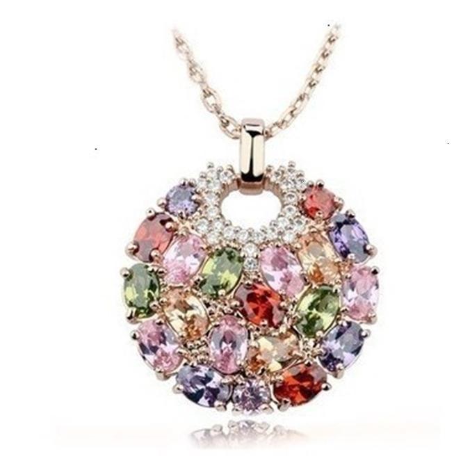 Mona lisa sete cor zircão colar jóias clavícula cadeia