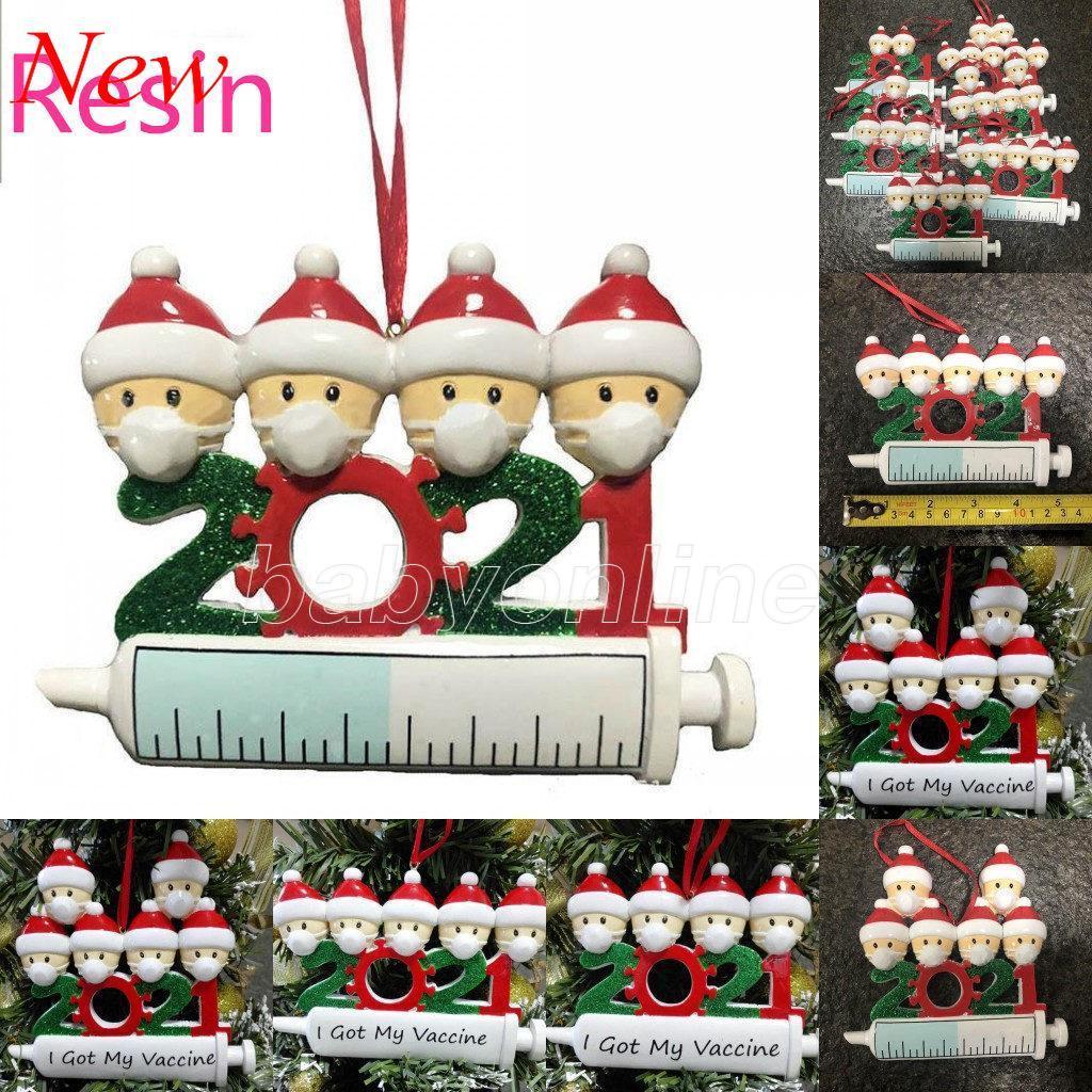 DHL 2021 Новая смола Рождественские украшения Карантин украшения семьи из 1-9 голов DIY Дерево подвесные аксессуары с веревкой FY4645