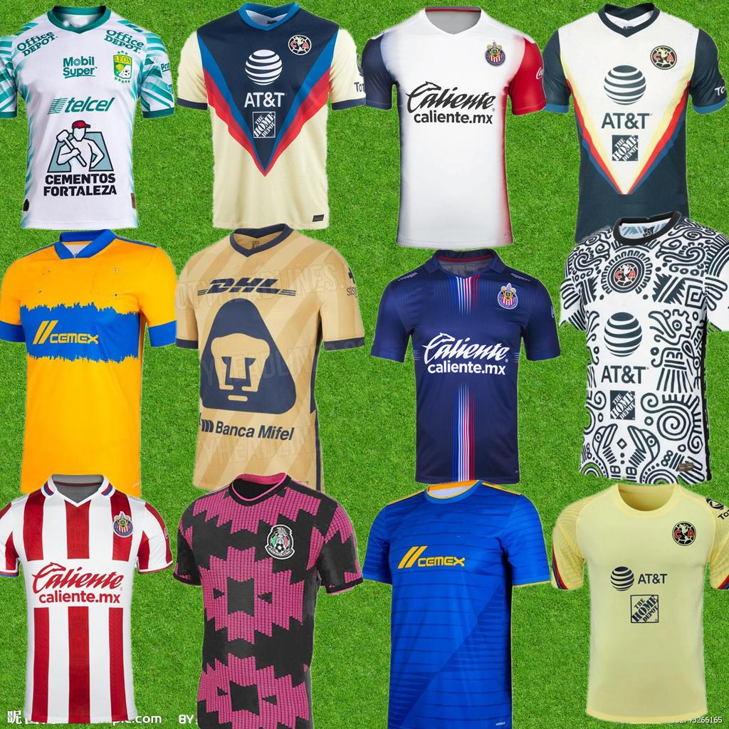 21 22 Club America Soccer Jerseys Leon Third 2021 2022 المكسيك Léon Tijuana Tigres Unam Men Chivas Cruz Azul كرة القدم قمصان