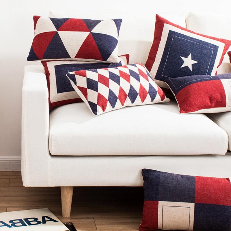 Dekoratives Kissen Rot Blue British Style Einfache Nordic Car Room Sofa Kissen Kissen3UZA