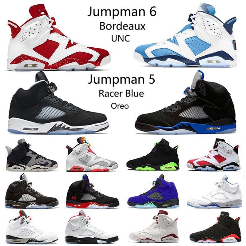 حذاء رياضي رجالي Nike Air Jordan 5 Retro 6 لكرة السلة Oreo Racer Blue Raging Bull Sail 5s Travis Scotts UNC Bordeaux أسود يعمل بالأشعة تحت الحمراء أخضر 6 s حذاء رياضي للرجال