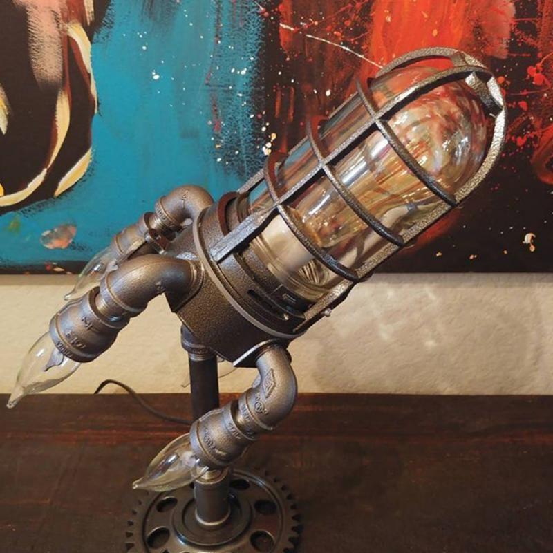 Gece Işıkları Steampunk Roket Lambası Punk Stil Metal Masaüstü Dekor Süsler Duvar Dekorasyon Işık LED ABD / İNGILTERE / AB / AU Fiş
