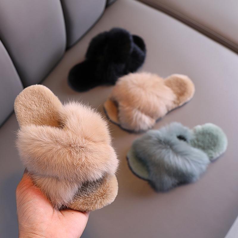 Slipper Fur Slippers Women Kids Shoes For Girl Toddler Baby Fluffy Fashion House Winter Indoor
