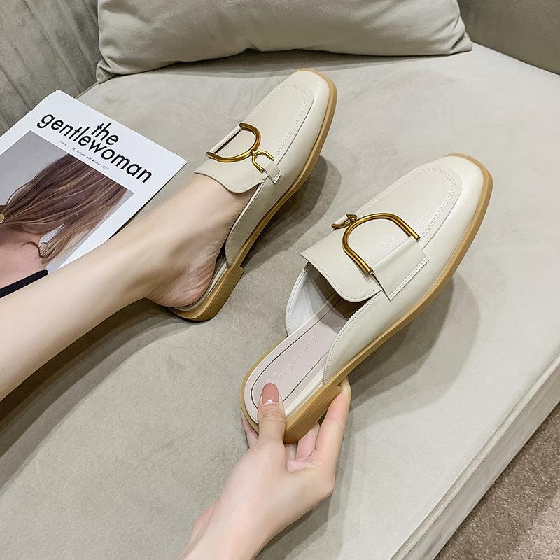 Düz Tek Ayakkabı Kadın Sandalet Yaz Terlik Bayan Dış Giyim Yaz Lazy Baotou Yarım