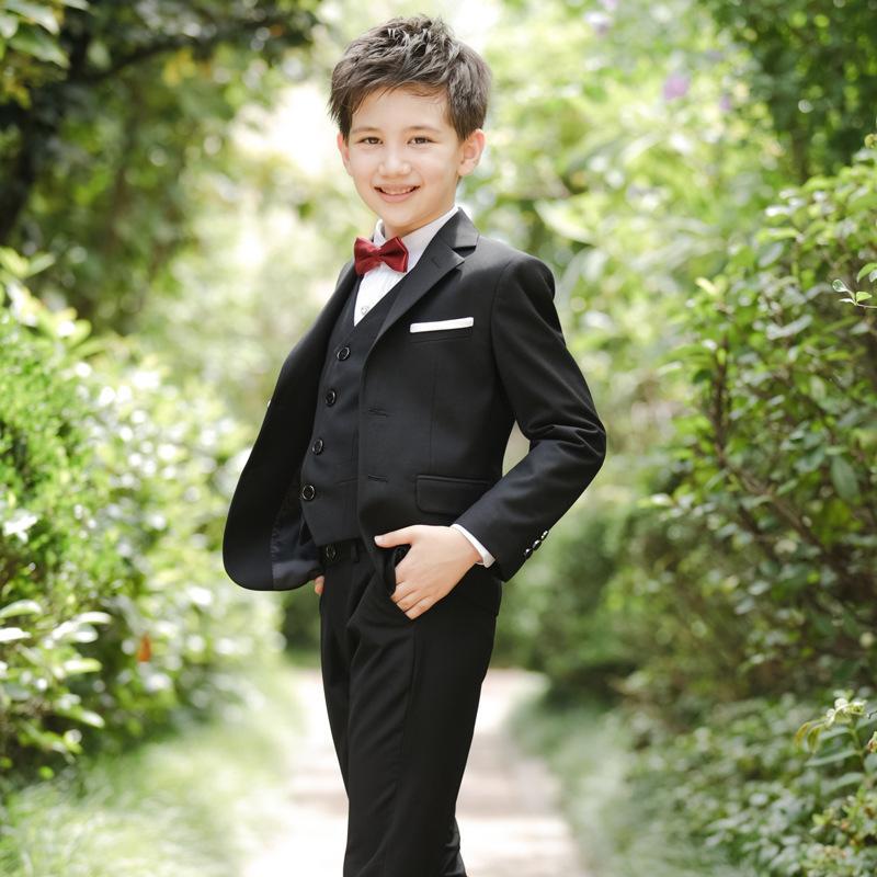 2021 Children Suit Four-Piece coat shirt vest tie pants Set business suit Host Boy Dress Big large Boy Baby Boy Suit 5 colors