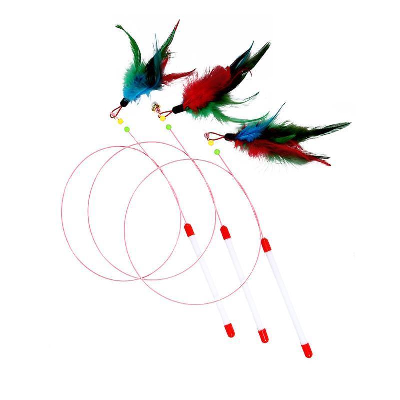 القط لعب الأسلاك الأسماك pet الفأر لعبة اللون الطيور ريشة هريرة لغز لطيف والمرح البلاستيك مضحك عصا الشريط الإمدادات