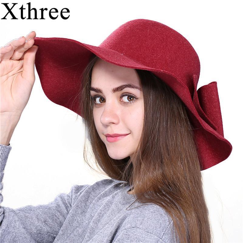 Stingy Rand Hüte Xthree Mode Herbst Vintage Wolle Wide-Krim Fedoras Für Damen Hut Bowler Floppy Herbst Damenkappe