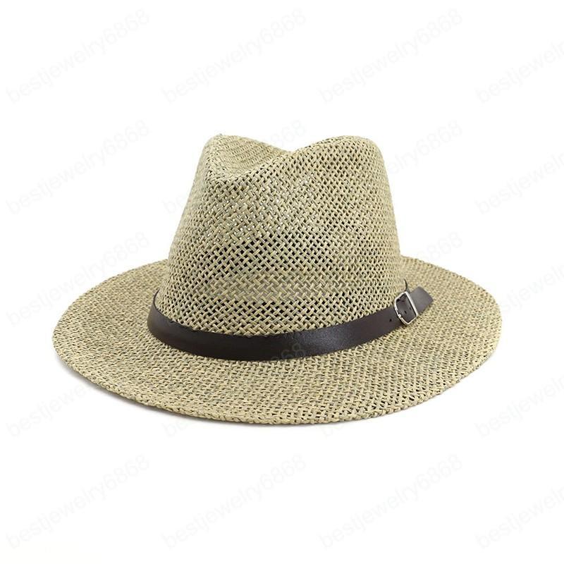 2021 Caz Panama Şapka Kemer Yaz Güneş Şapka Kadınlar Için Erkek Sombrero Plaj Saman Fedora Şapka UV Koruma Kap Chapeau