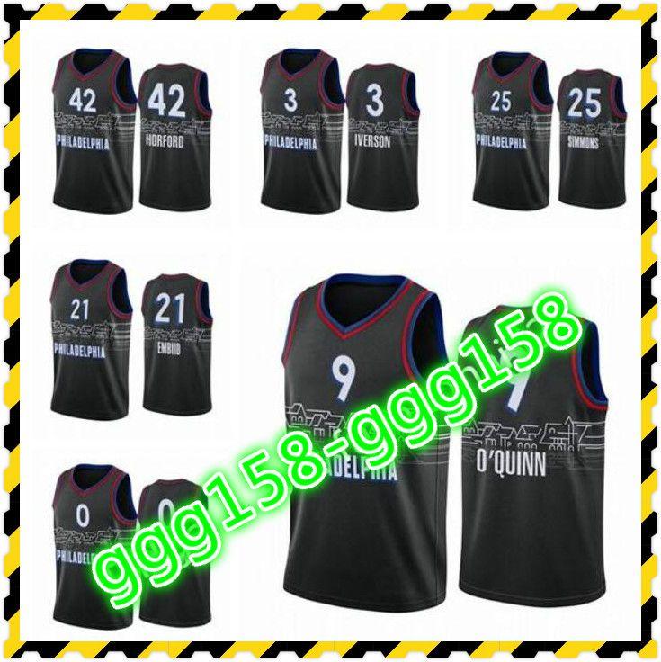 Baskı Yüksek Kalite erkek Kadın Çocuklar Ben Simmons 2020-21 Allen Iverson Josh Richardson City Siyah Özel Basketbol Forması