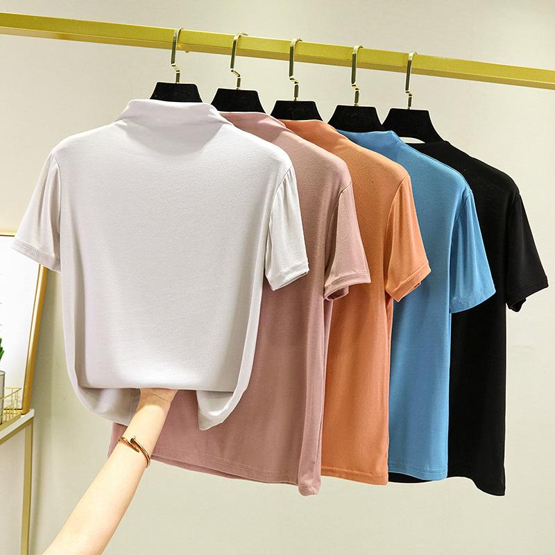 women pure color simple top in spring and summer 2021 slim fit with women's T-shirt 1x1 high collar short sleeve base shirt