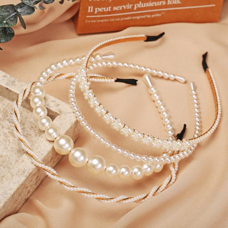 Dulces de gran tamaño Dulce de las grandes perlas para las mujeres coreano Handmade Headwear Twisted Wedding Wedding Hoop Hoop Elegantes accesorios elegantes Clips Barrette