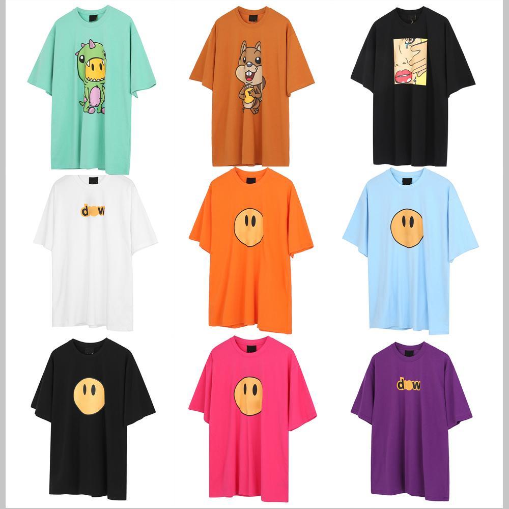 21SS Üst Qaulity Yaz Erkek Tasarımcılar Tees 100% Pamuk Baskı T Shirt Moda Rahat Çiftler Kısa Kollu Tee Erkekler Kadınlar Drewes T-Shirt