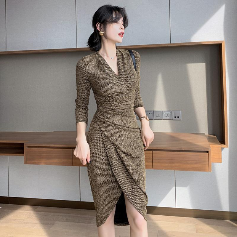 Casual Dresses Fashion Women Comfortable Elegant Work Style Cute Formal Dress Arrival Party Vintage Sexy V-neck Bouncy Asymmetrical