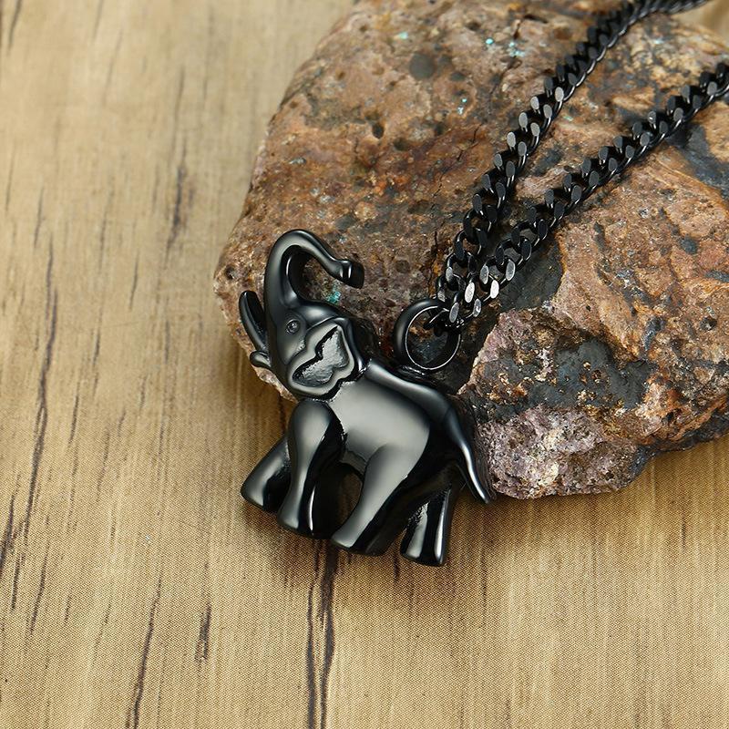 اكسسوارات أزياء الفولاذ المقاوم للصدأ الأسود قلادة الفيل قلادة حزب تفضل للرجال أو النساء مع سلاسل تصميم الحيوانات