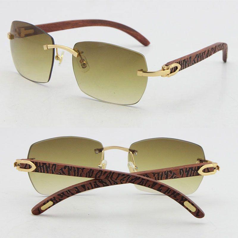도매 판매 T8100905 고품질 패션 나무 선글라스 새겨진 나무 무리 18K 골드 안경 UV400 렌즈 남성과 여성 프레임 프레임 크기 : 57-18-135mm