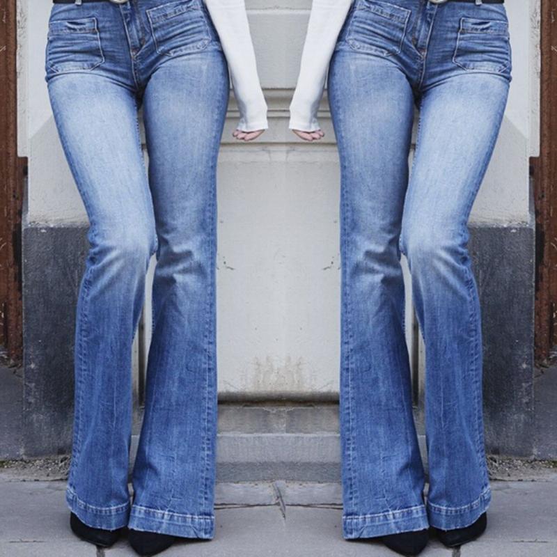 Women's Jeans Flare Pants Women Thin Vintage Denim Ladies High Waist Stretch Pocket Trousers Wide Leg Streetwear Outfits