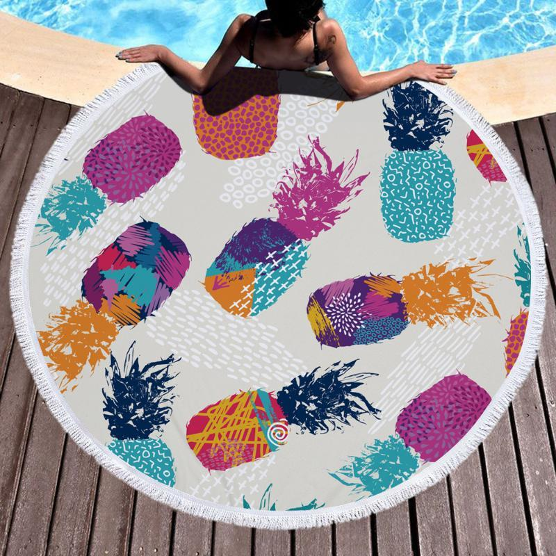 Round Pineapple Print Beach Towel Women Robes Bath Wearable Dress Womens Lady Fast Drying Spa Magical Nightwear YJ-0035