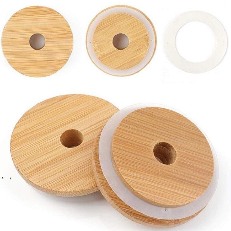 70mm / 86mm Dostluk Mason Kapakları Kullanımlık Bambu Kapaklar Tops ile Saman Delik Ve Silikon Mühür Masonlar Içme Kavanozları Içme Kavanozları Top OWD8939