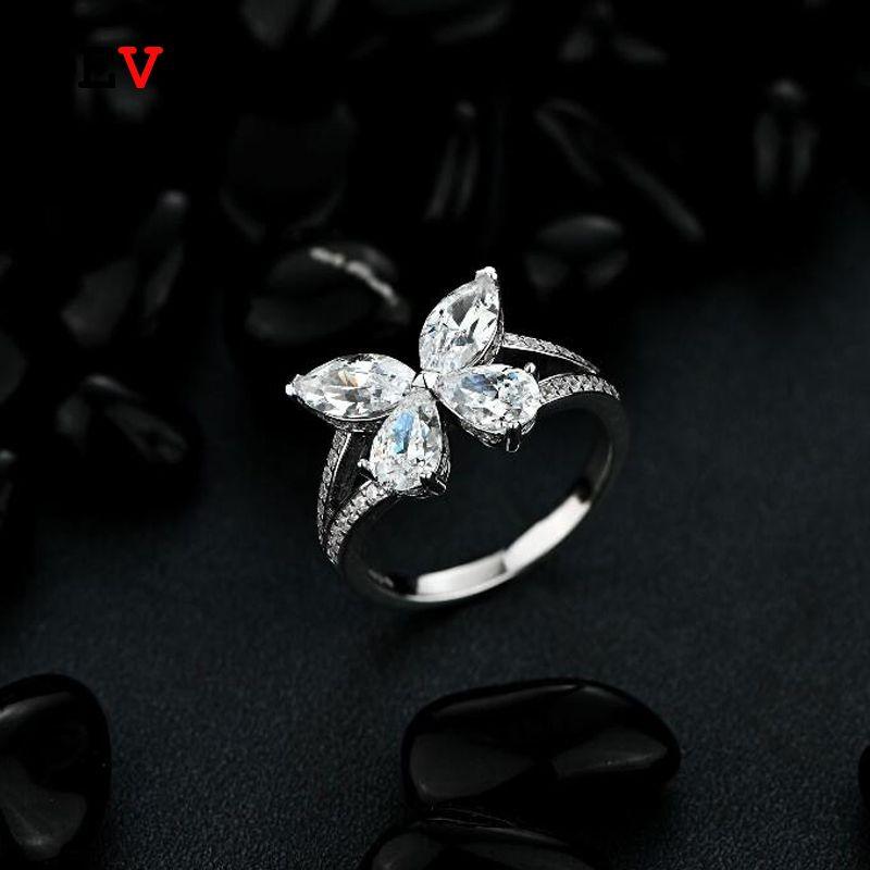 Oevas 100% 925 Sterling Sterling Sterling Sparkling High Carbon Diamond Fedure anello Farfalla per le donne Party Fine Gewely Anniversary Regalo